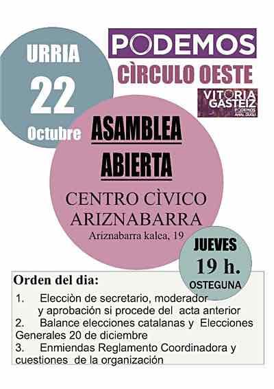 Convocatoria de asamblea de círculo Oeste 22-10