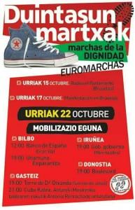 Carte anunciador de las Marchas en Bilbao, san Sebastian y Vitoria